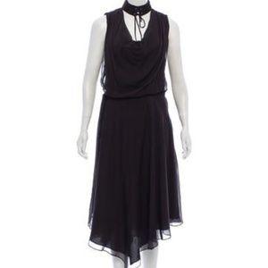 Haute Hippie Brown Choker Silk Midi Dress M
